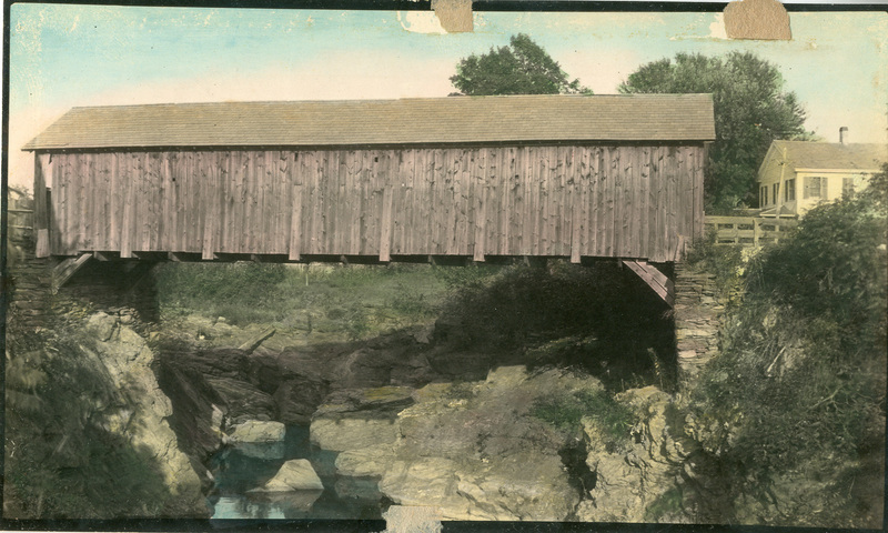 An historical photo of the Old Covered Bridge in East Poultney, Vermont.